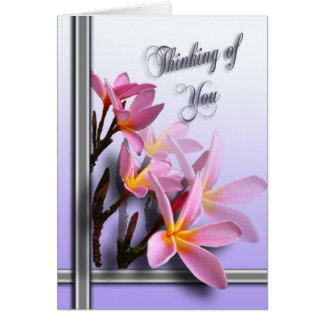 Thinking of you card - Pink Frangipani