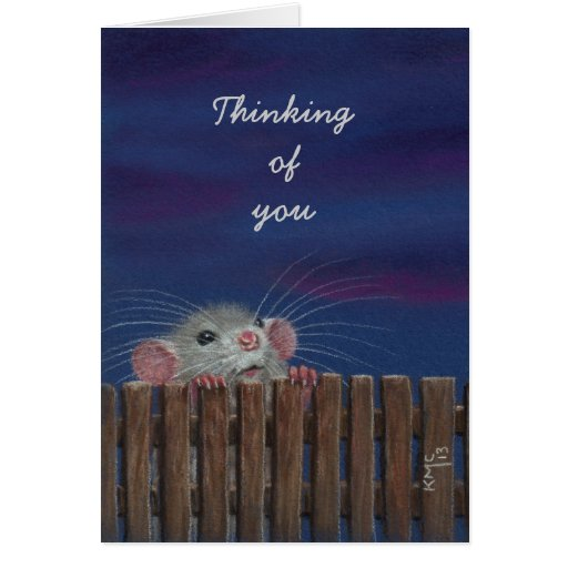 Thinking of you card, Rat by fence at dusk