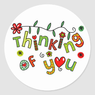 Thinking of You Cartoon Doodle Text Round Sticker