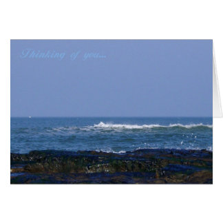 Thinking of you, coastal sea view waves and rocks greeting card