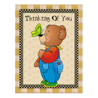 Thinking Of You Country Bear postcard