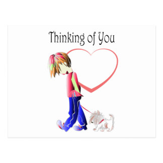 Thinking of You, Cute Boy and Dog Art Postcard