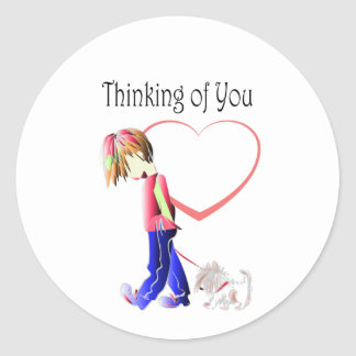 Thinking of You, Cute Boy and Dog Art Round Sticker