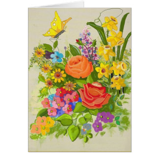 Thinking of You Flowers and Butterfly Card