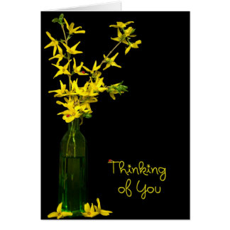 Thinking of you forsythia bouquet card