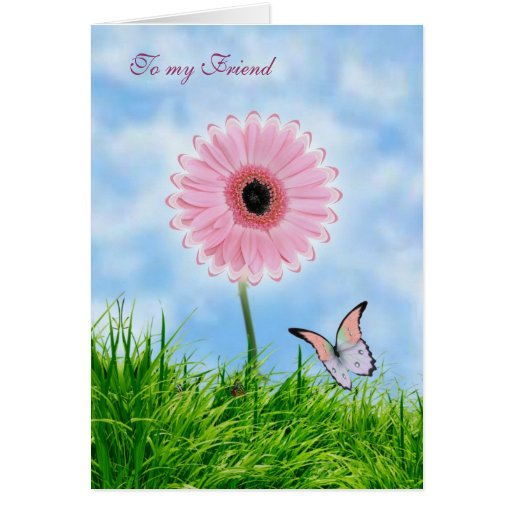 Thinking of you Friend Card with pink gerbera and