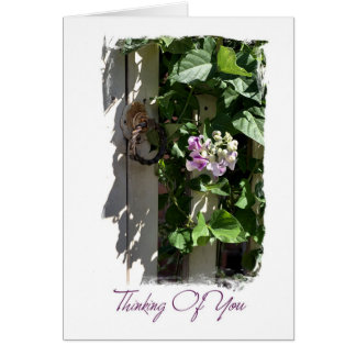 Thinking of you - Gate with Flowers Greeting Card