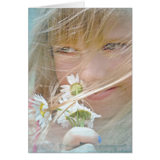 thinking of you-girl with daisies card