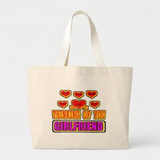 Thinking Of You Girlfriend Jumbo Tote Bag