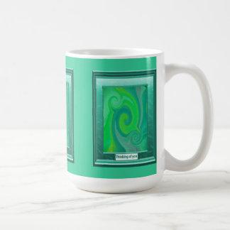 Thinking of you, Green swirl Mug