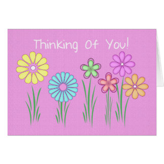 thinking of you greetng card with flowers pink