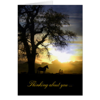 Thinking of you Horse in Sunset and Oak Tree Card