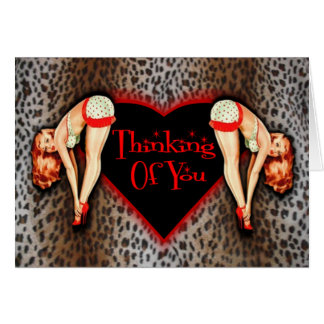Thinking Of You Leopard Pin Up Card