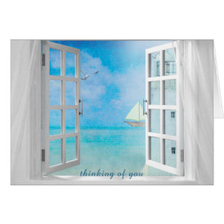 thinking of you-open window with white lighthouse card