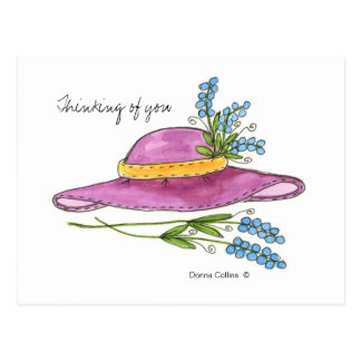 Thinking of You Pink Hat Post Card