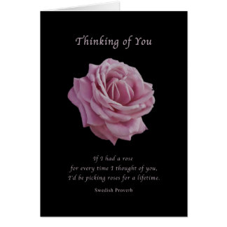 Thinking of You , Pink Rose on Black Greeting Card