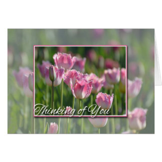 Thinking of You Pink Tulips Greeting Card