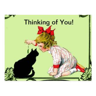 THINKING OF YOU POSTCARD VINTAGE CHILD W CAT ARA