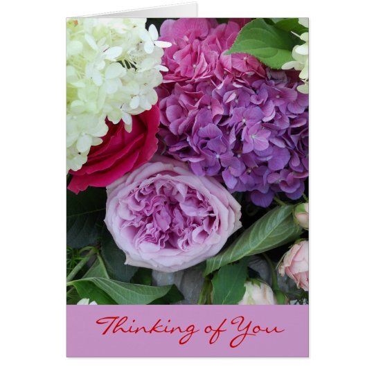 Thinking of You Pretty Floral Bouquet Flowers Card