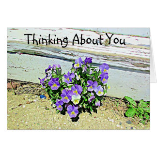 Thinking of you, Purple Flowers Weathered Stairs Card