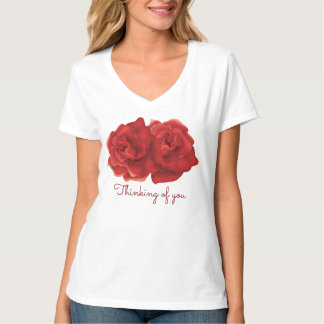 Thinking of you Red rose custom T-shirts