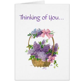 Thinking of You Retro Style Vintage Floral Bouquet Card