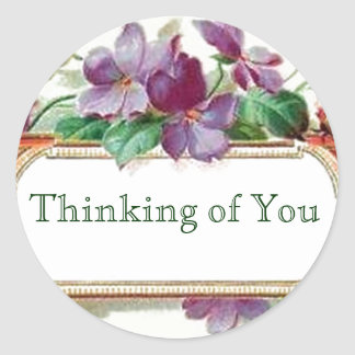 Thinking of You Retro Style Vintage Floral Violets Sticker