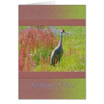 Thinking of You, Sandhill Crane, Field of Flowers Greeting Cards