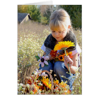 thinking of you today-little girl with flowers card