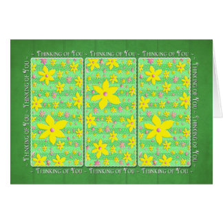 Thinking of You - Yellow & Pink Flowers on Green Card