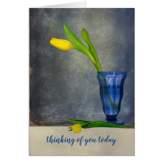 thinking of you-yellow tulip in sundae glass card