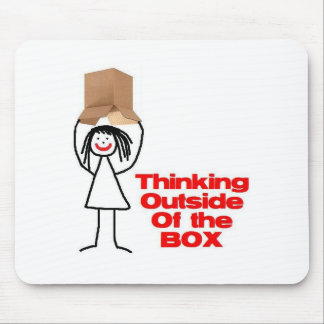 Thinking Outside the Box Cartoon Mouse Pad