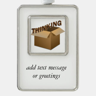Thinking Outside The Box Silver Plated Framed Ornament