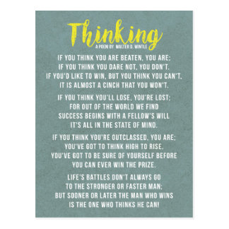 Thinking - Powerful Motivational Poem Postcard