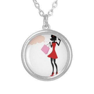 Thinking Shopping Girl Round Pendant Necklace