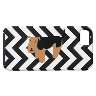 Thinking Welsh Terrier iPhone Case w/ Chevron iPhone 5 Cover
