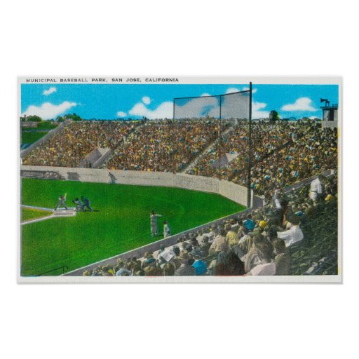 Third Base Line View of Municipal Baseball Poster