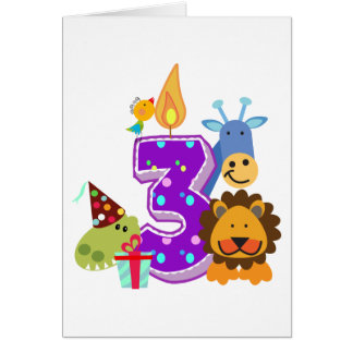 Third birthday Animal friends of the jungle Card