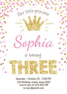 Princess birthday invitations announcements zazzle third birthday invitation princess gold pink three filmwisefo Gallery
