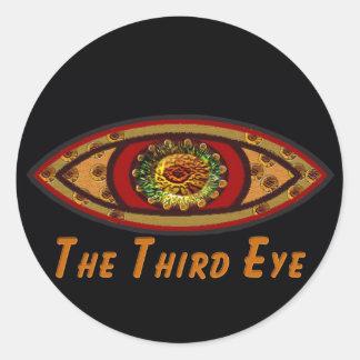 Third Eye - Black Print with Caption by Manda Round Sticker