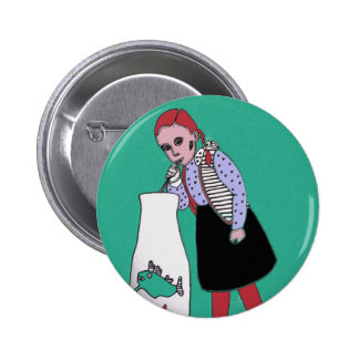 Thirsty redhead 6 cm round badge