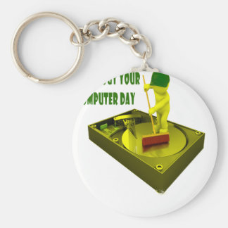 Thirteenth February - Clean Out Your Computer Day Basic Round Button Key Ring