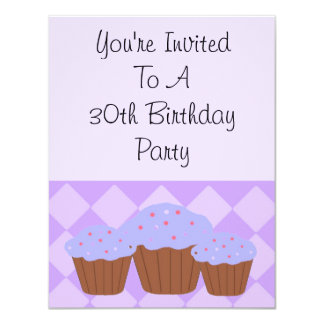 Thirtieth Diamonds and Cupcakes 11 Cm X 14 Cm Invitation Card