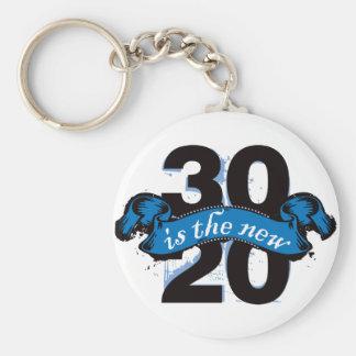 Thirty is the New Twenty - Blue Basic Round Button Key Ring