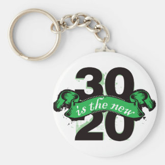 Thirty is the New Twenty - Green Basic Round Button Key Ring
