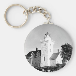 Thirty Mile Point Lighthouse Basic Round Button Key Ring
