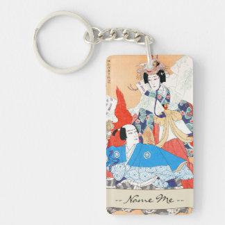 Thirty-six Kabuki Actors Portraits - Two Dancers Double-Sided Rectangular Acrylic Key Ring
