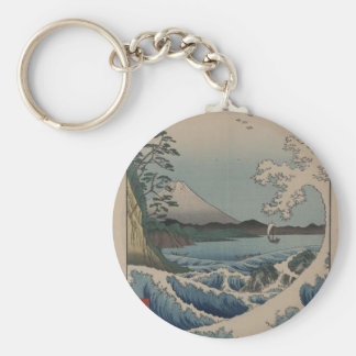 Thirty-six Views of Mount Fuji  富士三十六景,  Hiroshige Basic Round Button Key Ring