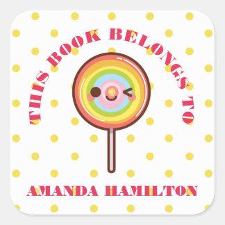 THIS BOOK BELONGS Kawaii pretty rainbows lollipop Square Sticker