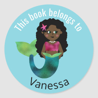 This Book Belongs To African American Mermaid Girl Classic Round Sticker